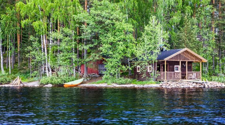 Finnish lakeside cabin