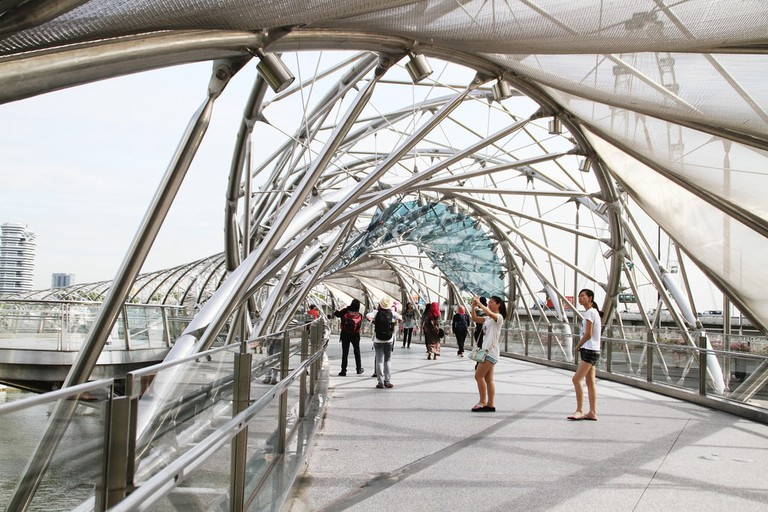 Enjoy the picturesque view while jogging on the Helix Bridge