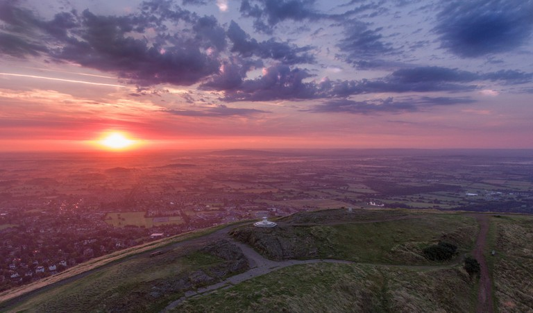 Aerial shot of the Malvern Hills, Worcestershire