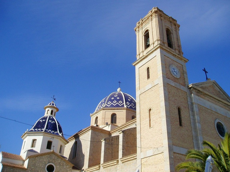 The blue domes of the church in Altea, Spain
