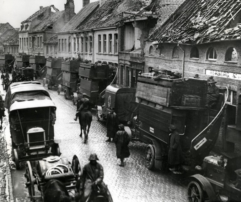London buses belonging to the London General Omnibus Company served as B-type battle buses in France during the First World War, 1914-1918