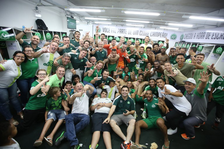Chapecoense celebrate after qualifying for the Copa Libertadores