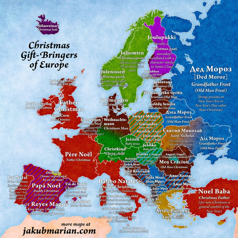 A map of Christmas gift-givers across Europe