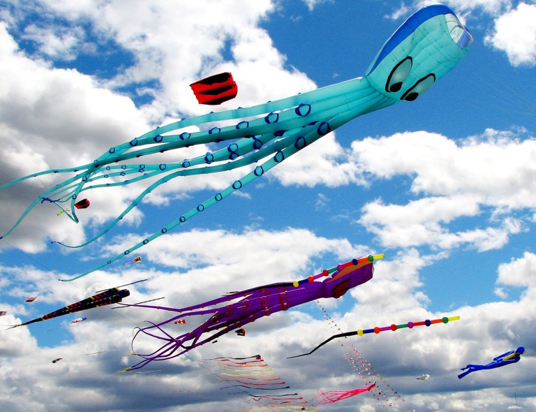 Kites of different sizes, colours and shapes deck up the desert sky