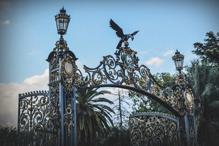 The ornate park entrance