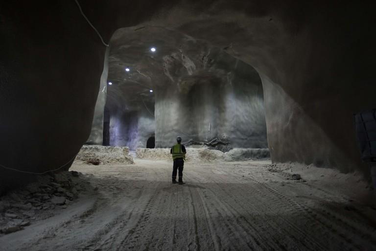 Construction of underground cemetery in Jerusalem, Israel - 29 Nov 2017