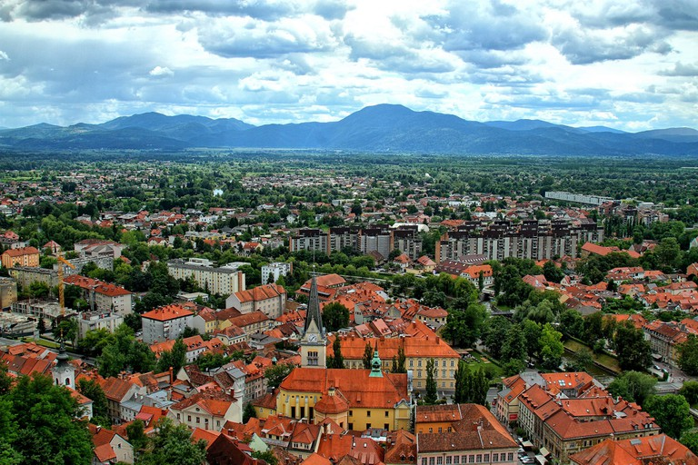 A panoramic view of Ljubljana's city center