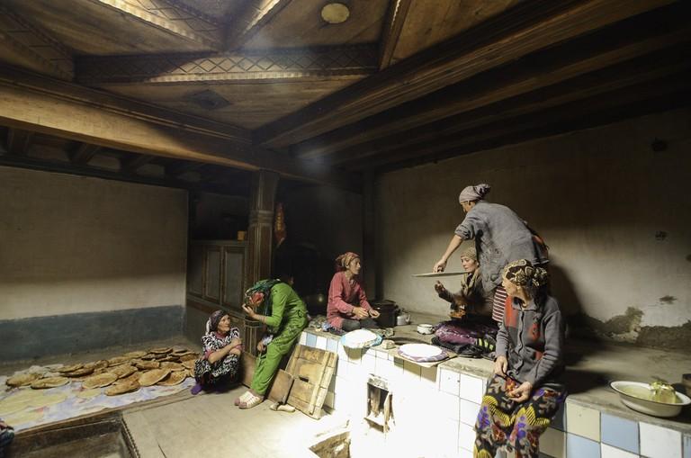 Pamiri Women Baking Bread at Home