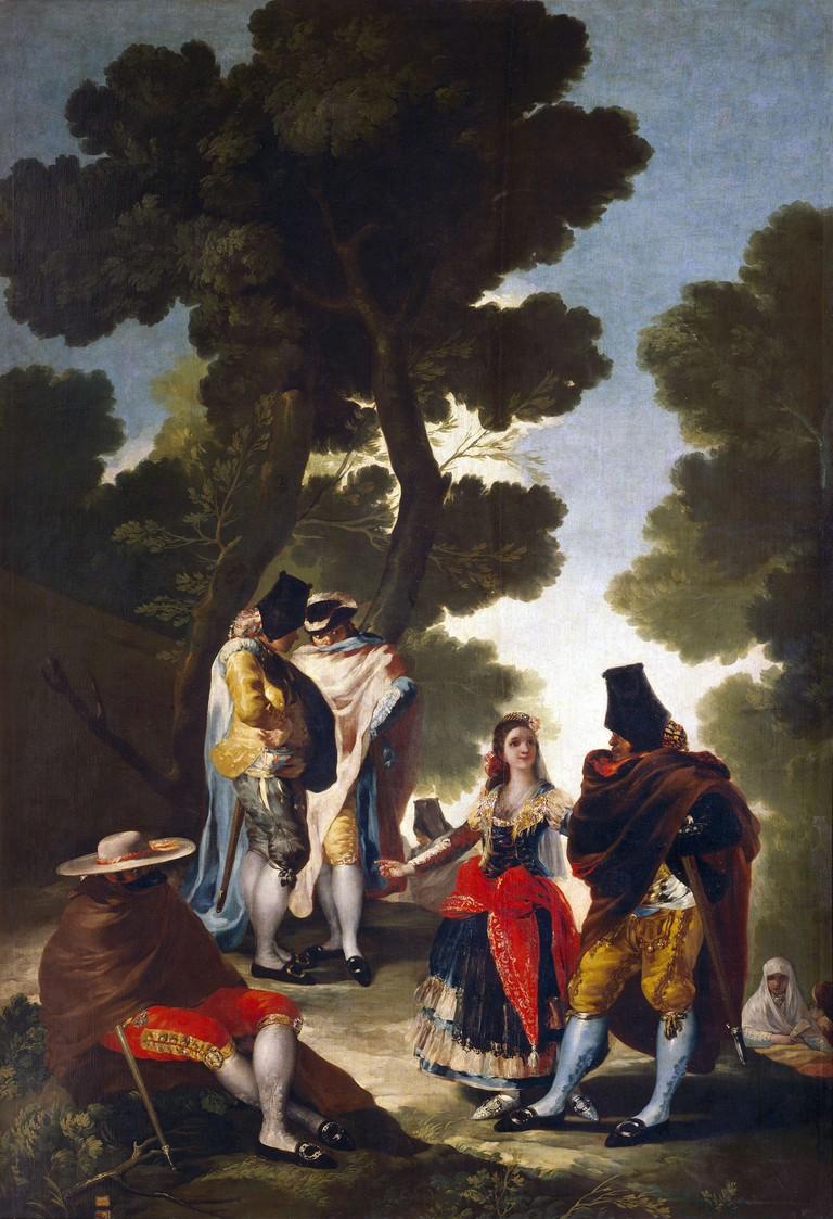 El Paseo por Andalusía by Francisco de Goya depicts majos and majas