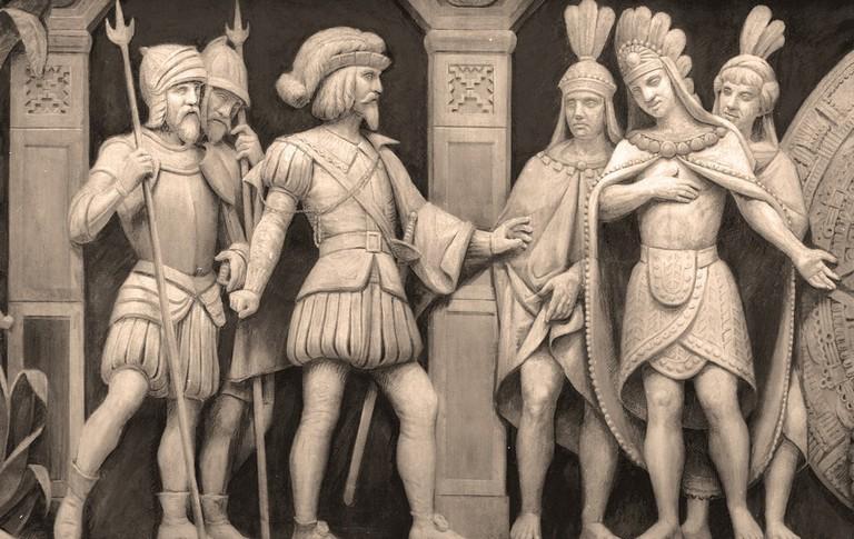 Hernán Cortés and Moctezuma