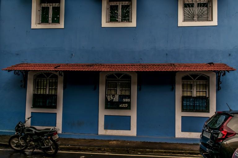 Picturesque blue building in Fontainhas