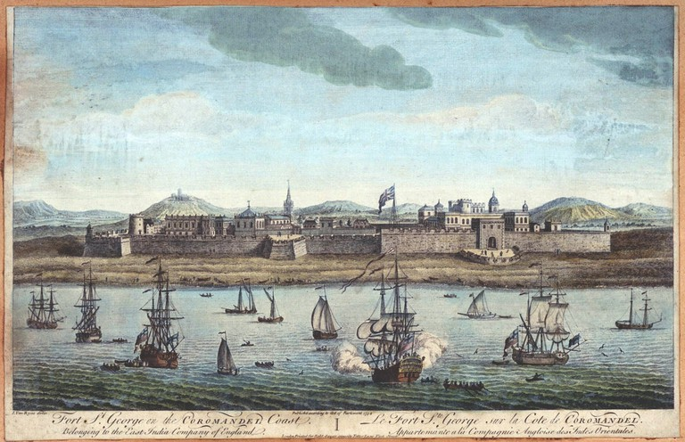 An artist's rendition of Fort St. George on the Coromandel Coast in the 18th-century