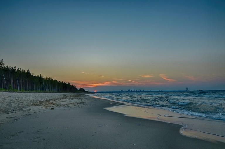 Gdańsk beach at sunset