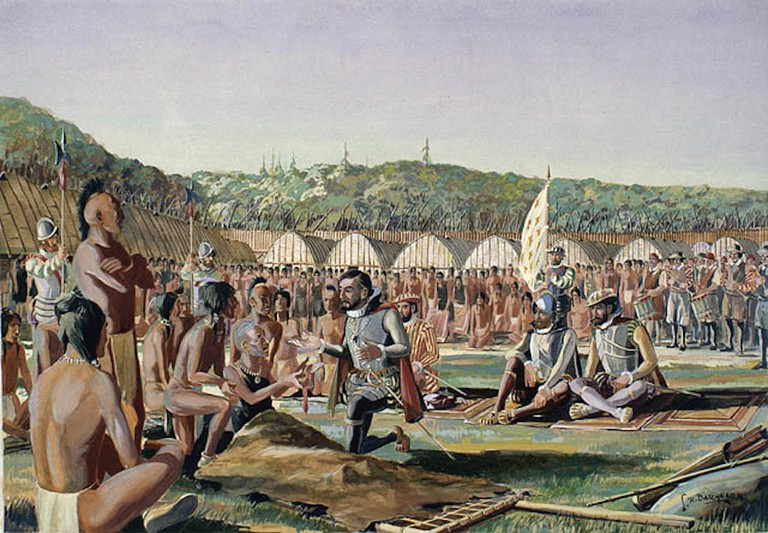 Jacques Cartier in Hochelaga. Cartier was the first European to arrive in the Montreal area, in 1535. Depicted by Lawrence R. Batchelor, 1887-1961