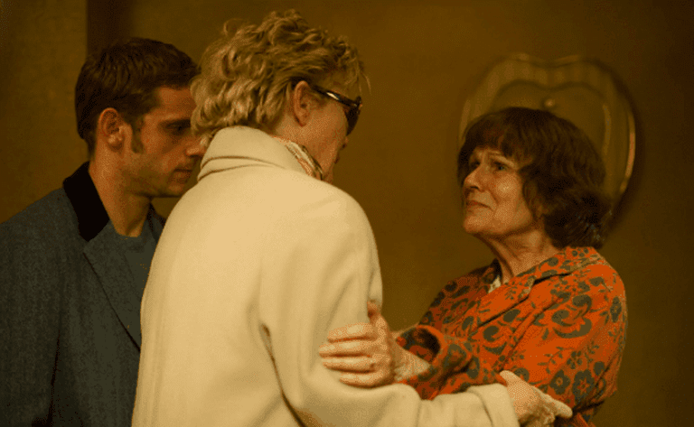 Jamie Bell, Annette Bening, and Julie Walters as Peter's mom in Film Stars Don't Die in Liverpool