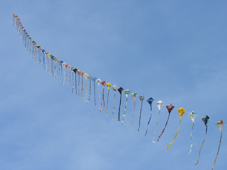 Kites attached in a single string
