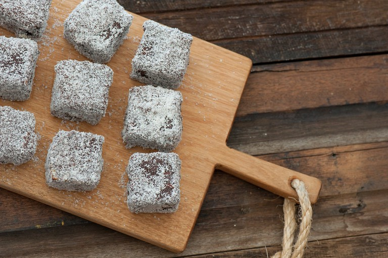Lamingtons on a serving board