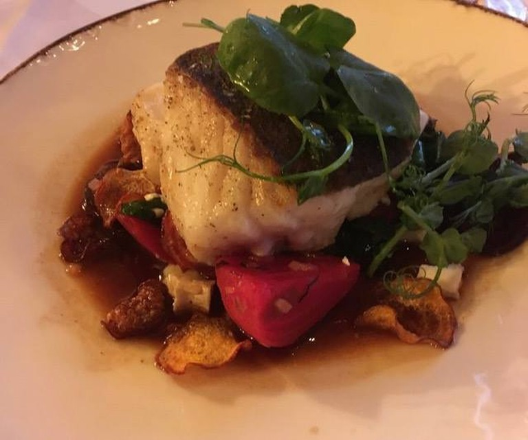 Lutefisk with bacon | Courtesy of Gamle Raadhus Restaurant