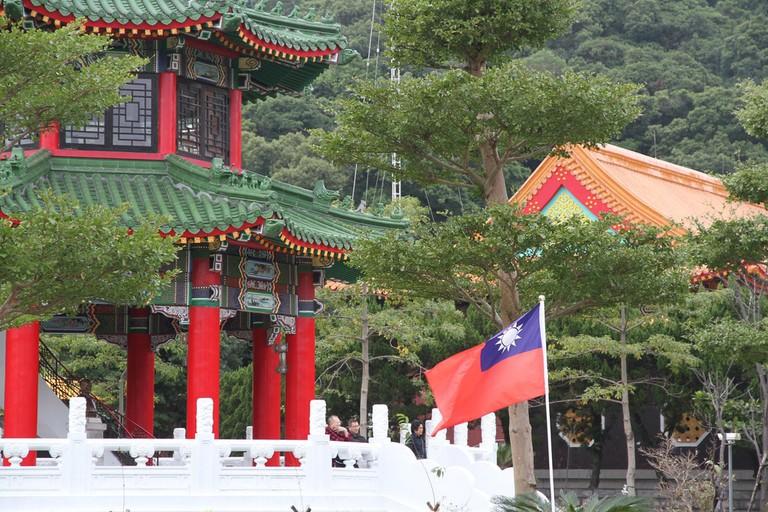 Taiwanese flag at temple