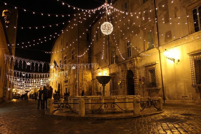 Narnia Italy Town Medieval Narni Night Fountain