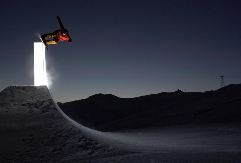 Travis Rice in Laax, Switzerland.
