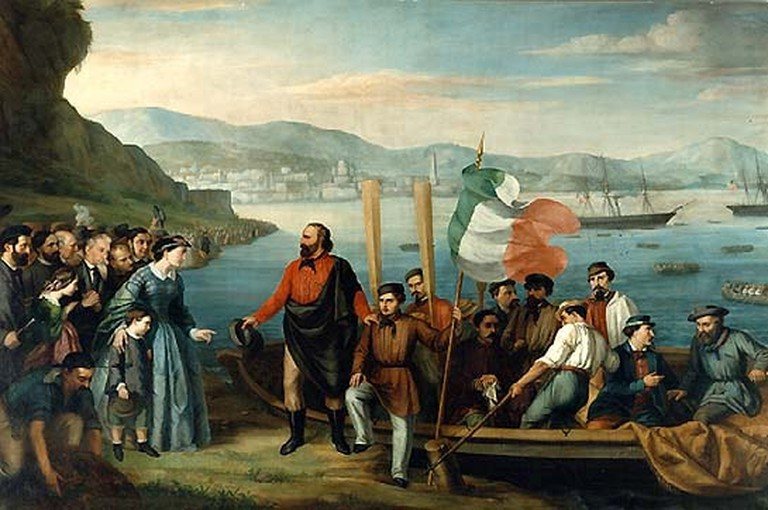 A painting preserved in Museo del Risorgimento representing Garibaldi and the Thousand departing from Quarto