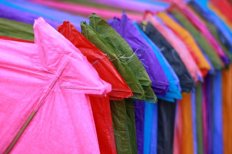 Colorful kites at the Patang Bazaar