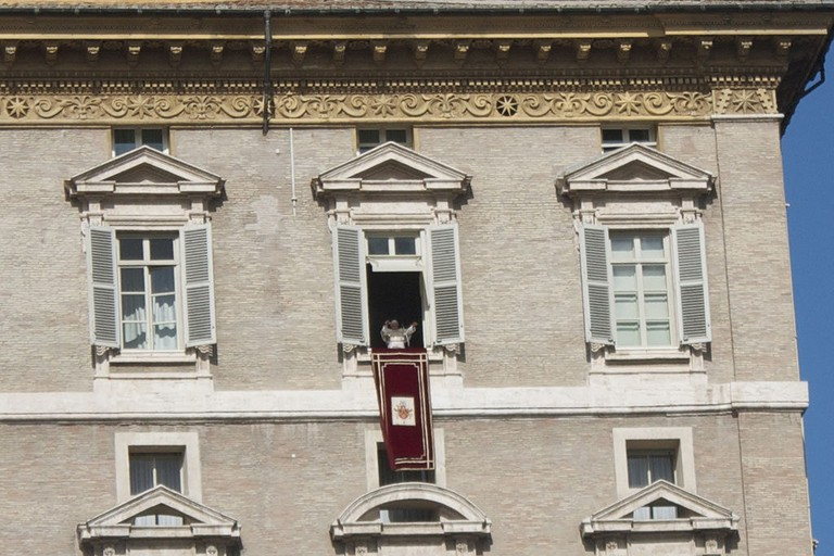 Every Sunday at noon the Pope speaks from his window over St. Peter's square and recites the Angelus prayer