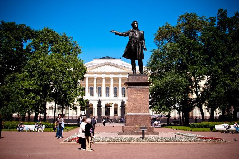 Pushkin Monument at Ploshchad Iskusstv, St. Petersburg Ilya Flickr