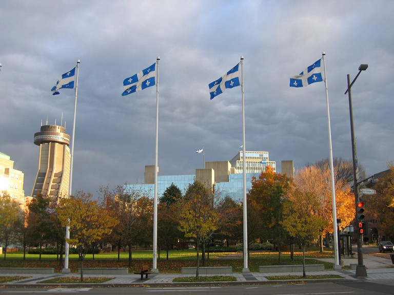 The Fleur-de-lys, the official flag of Quebec