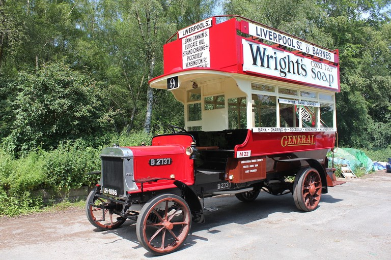 Red bus operated by the London General Omnibus Company in the early 20th century