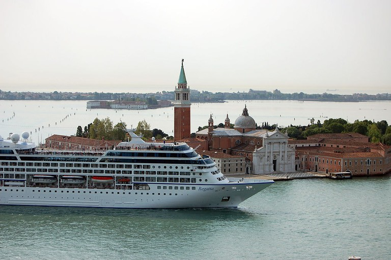 Cruise ship sailing into Venice