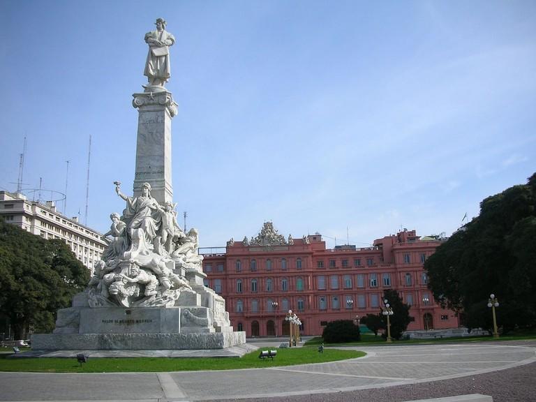 The former Christopher Columbus monument