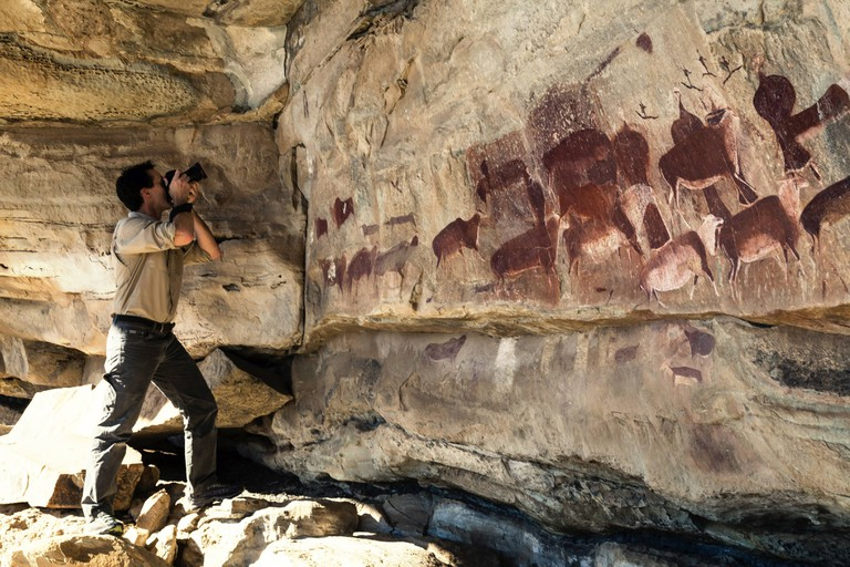Taking photos of rock art in the Drakensberg Park