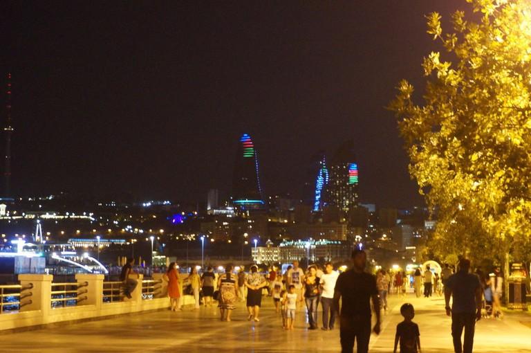 Baku Boulevard at 11:00pm on a warm summer's night