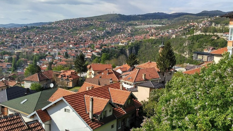 View of some of the hillside neighbourhood in Sarajevo