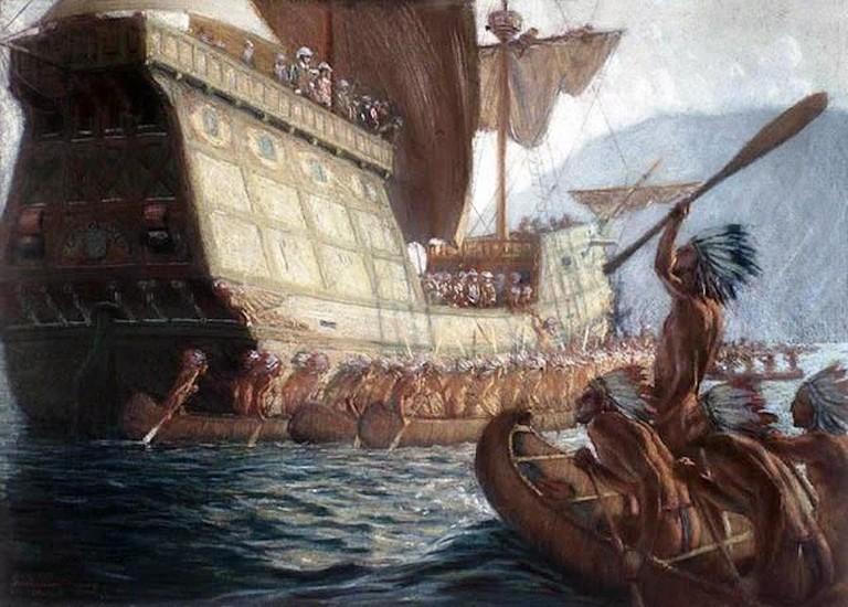 https://en.wikipedia.org/wiki/Samuel_de_Champlain#/media/File:Samuel_de_Champlain_arrive_%C3%A0_Qu%C3%A9bec_-_George_Agnew_Reid_-_1909.jpg