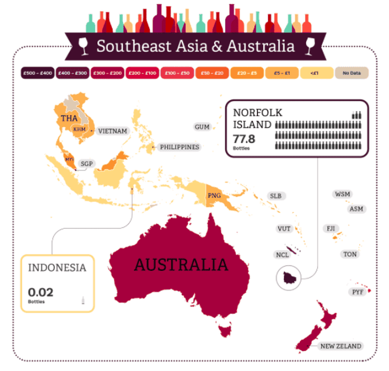 Wine consumption in Australia and Southeast Asia
