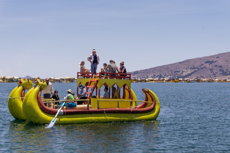 An Uros boat made out of reeds