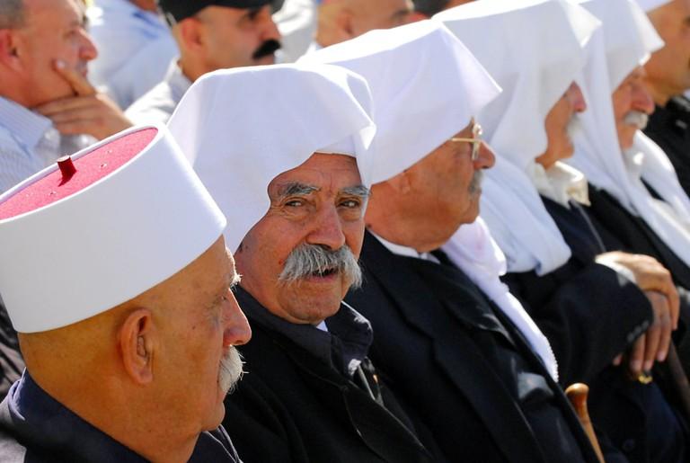 Druze communal leaders from Majdal Shams, Israel