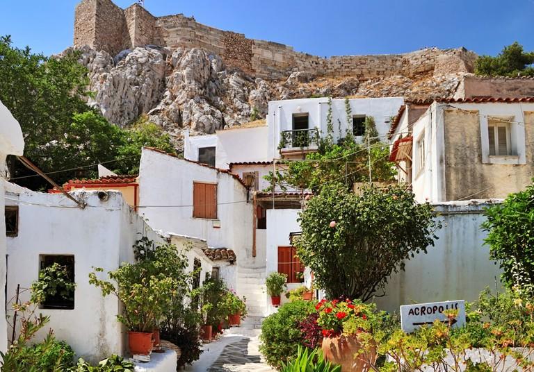Anafiotika is part of old historical neighborhood Plaka on northern-east side of the Acropolis hill