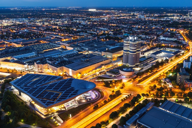 Aerial view of BMW Welt and the BMW Museum, Munich