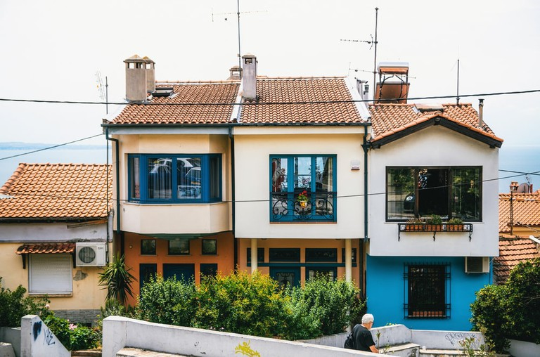 Small houses with a sea view in the upper part of the city of Thessaloniki