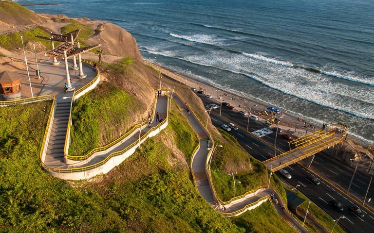Stairs to Miraflores beach, Lima, Peru