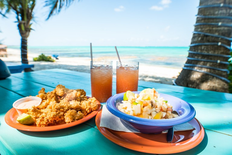 Conch fritters and salad