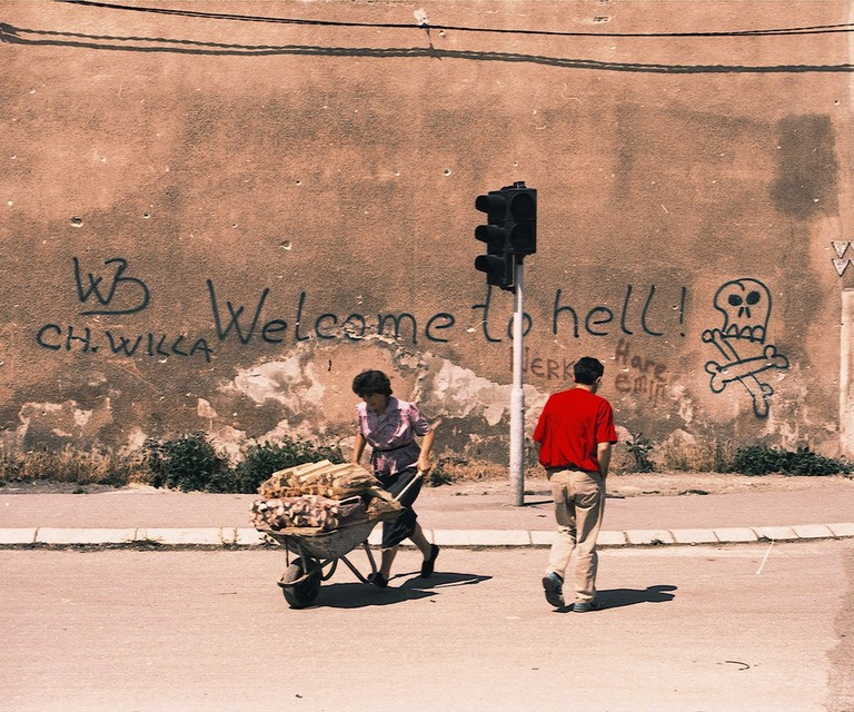 """03 JULY 1993 - The famous """"welcome to hell"""" graffiti on a wall in Sarajevo 