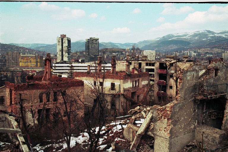 A panorama of Sarajevo, Bosnia, on Friday, March 15, 1996   © Northfoto/Shutterstock