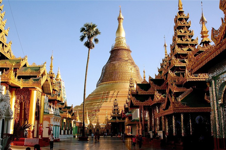 A glimpse of the Shwedagon Pagoda in Yangon during the day