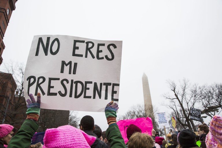 "A protester holds a sign reading ""You are not my president"" during the march towards the White House"