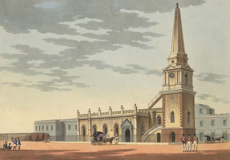 An artist's rendition of St. Mary's Church, the first Anglican Church in India, in the 19th-century